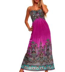 Dolga poletna party obleka maxi lila