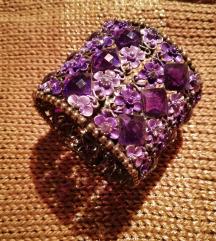 Široka vijolična zapestnica - rožice