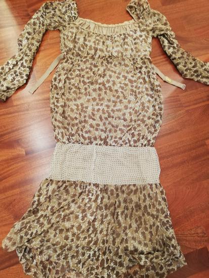 Ego rjava svilena obleka