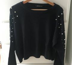 Temno moder pulover Zara z biserčki