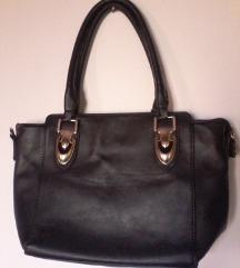 pravo usnje črno zlata torbica,srednje velika