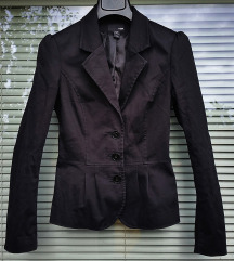 H&M št. 36 črni blazer / suknič iz bombaža