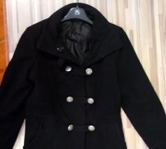Črn volnen zimski plašč s/m