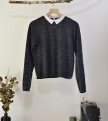 sivomoder pulover s srajčnim ovratnikom