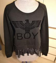 *ZNIŽANO Črn crop pulover s čipko