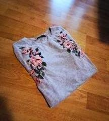 Siva majica z vrtnicami XS in S ter M