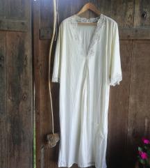 Vintage satenasta bela spalna obleka s čipko