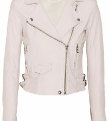 Svetlo roza usnjena jakna z etiketo