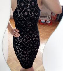 Črna bodycon lace obleka z dusty roza podlogo