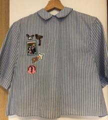 Zara črtasta srajčka z našitki