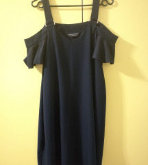 cold shoulder navy obleka