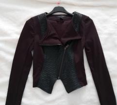 Krajša jakna, črna, usnje/blago, XS, NOVA