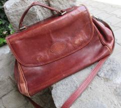 Rjava vintage torbica iz pravega usnja