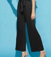 MANGO basic - črne široke hlače M