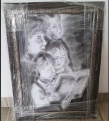 Slika z okvirjem - oglje