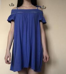 Modra poletna off the shoulder oblekica Xs