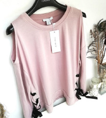 ZNIŽ.Nov lace up roza pulover