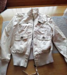 Bela usnjena jakna