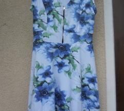 Modra cvetlična mini poletna obleka