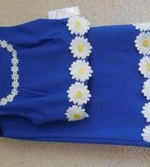 Nov kratek moder cvetlični eleganten komplet