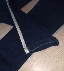 NOVE dark jeans hlače z srebrno črto  xs/s