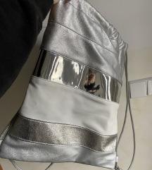 Srebrn nahrbtnik/vreča, ročno narejena
