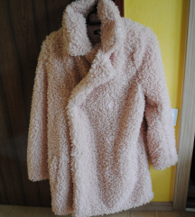 Missguided NOV baby pink teddy plašč
