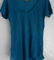 Zara turkizna lanena majica