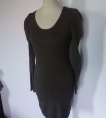 zimska olivna obleka iz pletenine,XS/S