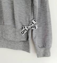 ZNIŽ.Nov siv bow pulovrček