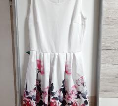 Bela obleka z vrtnicami 🆕️