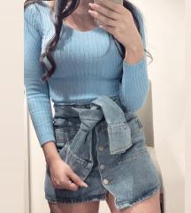 Mini jeans krilo z gumbki in rokavi-pasom