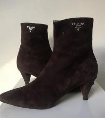 vintage Prada semiš usnjeni škornji z visoko peto