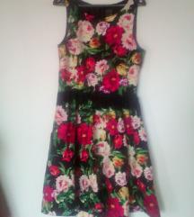 pomladna elegantna obleka z rožami,M-L-(40)