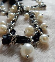 elegantna črno-bela VERIŽICA ■nova