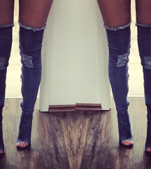 Denim over knee skornji