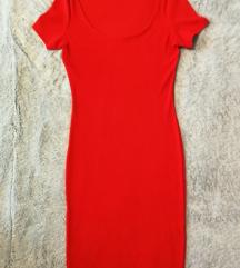 NOVA oprijeta obleka h&m vel. S (oranzno rdeca)