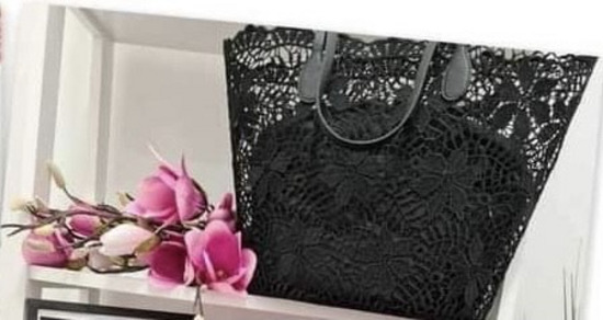 črna čipkasta torbica