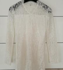 Bela čipkasta obleka - tunika