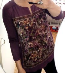 Vijolična loose majčka s sliko rož floral GDM S
