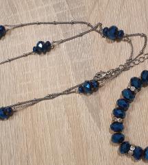 Modra verižica+zapestnica