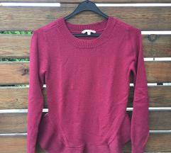 Rdeč peplum pulover xs