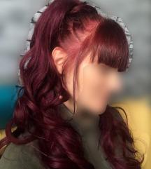 Čop lasni poddaljški barva burgundy, 22 lullabellz