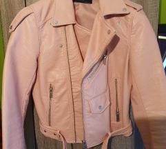 Roza jakna iz umetnega usnja