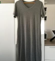 NOVA daljša siva t-shirt obleka z žepi