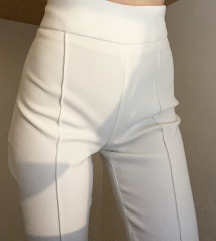 Bele elegantne hlače, visoki pas