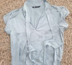 Zara satenasta bluza s kratkimi rokavi, M