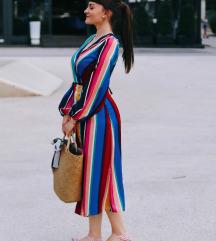Modna rainbow maxi obleka