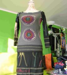 Obleka DESIGUAL v zeleno-sivi kombinaciji