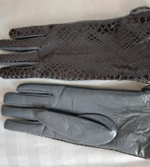 Elegantne rokavice z vzorcem v sivi kombinaciji